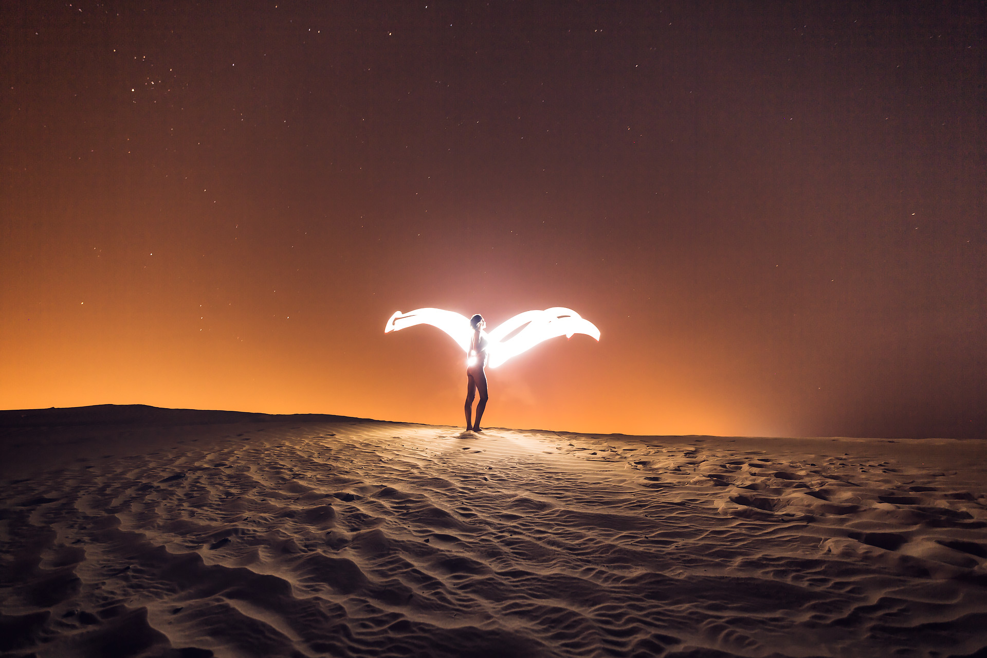 nude desert light painting